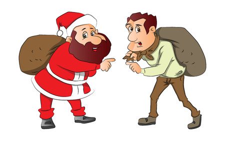 Vector illustration of santa and burglar pointing with sacks on their back.