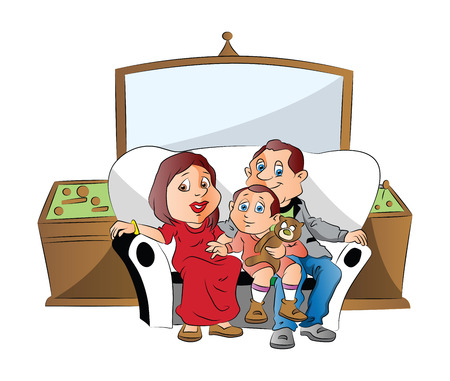 Vector illustration of a family sitting with shocked expression while watching television. Reklamní fotografie - 37762013