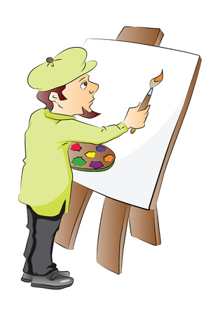 Vector illustration of an artist painting on a blank canvas.