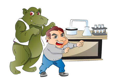Animal Imitating a Man in a Laboratory, illustration
