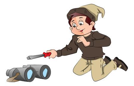 Vector illustratie van de jonge jongen in Santa hoed, op het punt om een verrekijker met een schroevendraaier te repareren. Stock Illustratie