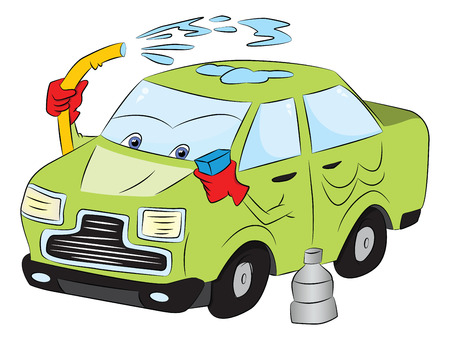 Vector of car wash with water hose and sponge.