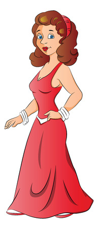 hairband: Vector illustration of pretty young woman in party wear with her hand on hip. Illustration