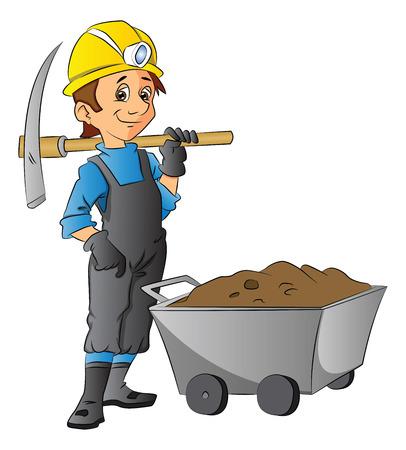 Vector illustration of construction worker holding pickaxe next to wheelbarrow full of mud. Ilustracja