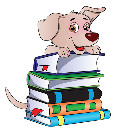 cute dog: Vector illustration of a clever and cute dog on stack of books.
