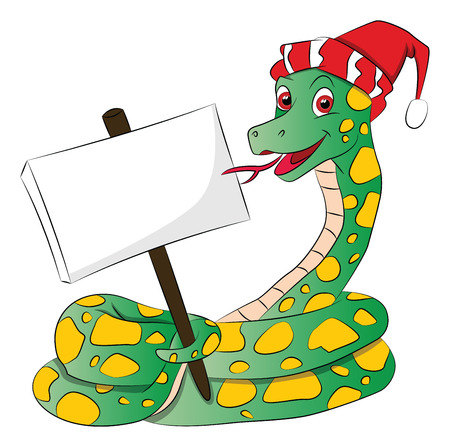Vector illustration of a snake wearing santa hat and holding a blank signboard. Vector