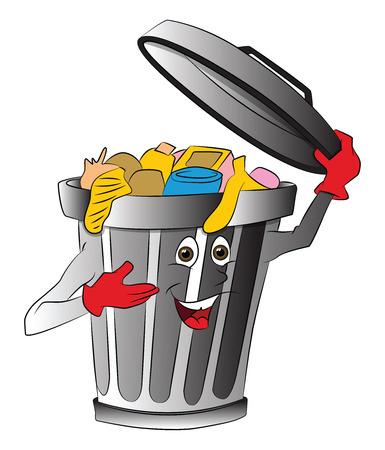 Vector illustration of overloaded dustbin holding lid.