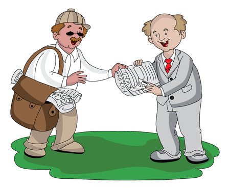 well dressed: Vector illustration of vendor receiving money for selling newspaper.