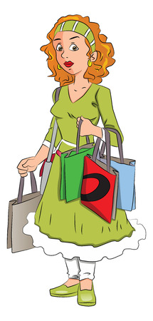 heavy: Vector illustration of unhappy woman over-burdened with shopping bags.