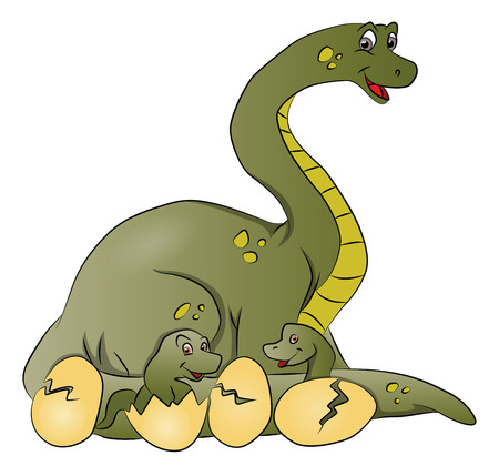 Vector illustration of dinosaur mother with newborn coming out of cracked eggshells.
