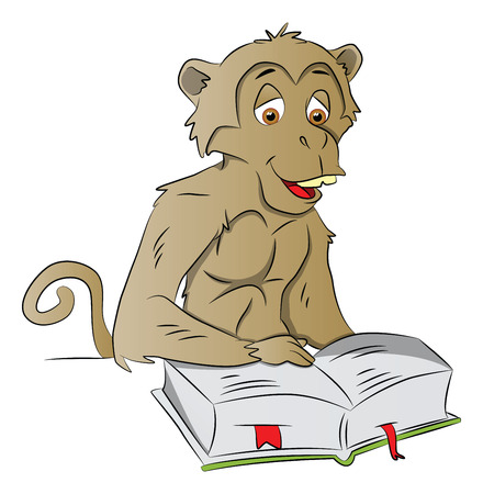 Vector illustration of a clever monkey reading a book.