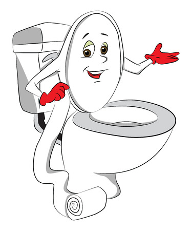 cartoon toilet: Vector illustration of toilet bowls cover holding toilet paper.