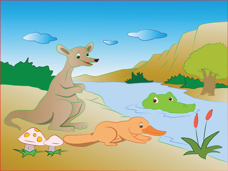 sneaking: Vector illustration of crocodile sneaking on kangaroo and platypus on lakeside.