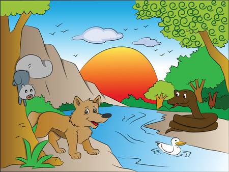 Vector illustration of scared squirrel and fox watching snake on other side of the lake. Vector