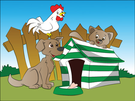 rooftop: Vector illustration of curious dog, squirrel and hen next to a house with bone in foreground.