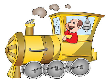 Vector illustration of happy driver riding a steam engine.