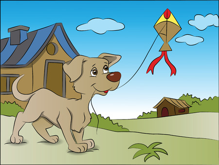 Vector illustration of dog flying kite next to a house.
