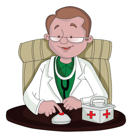 Vector illustration of doctor ringing table bell next to first-aid box
