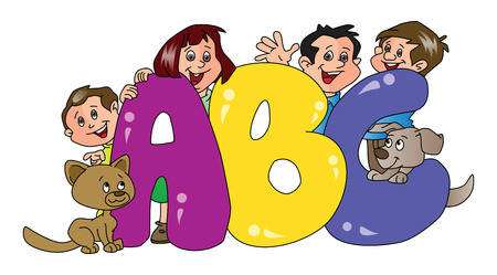 family pet: Vector illustration of happy family and pet dogs with abc blocks in foreground. Illustration