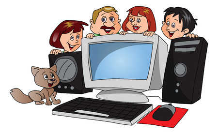 purchased: Vector of happy family and pet dog with a newly purchased computer.
