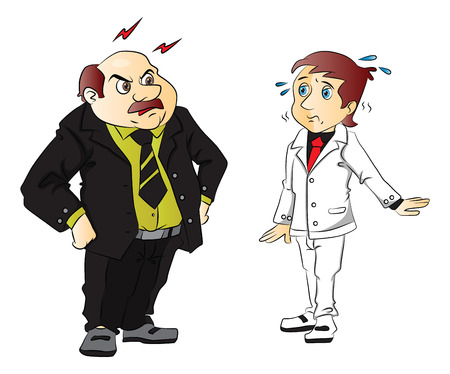 disrespect: Vector illustration of angry boss scolding young employee.