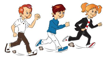 Vector illustration of kids against white background. Ilustração