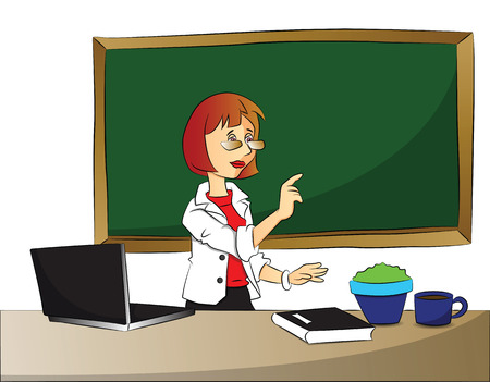 foreground: Vector illustration of curious businessswoman pointing with laptop, file and teacup on desk in foreground.