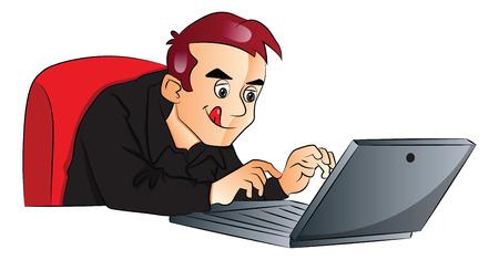 using laptop: Illustrazione vettoriale di uomo d'affari con il computer portatile in ufficio.