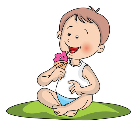 indulgence: Vector illustration of cute little boy eating ice cream.