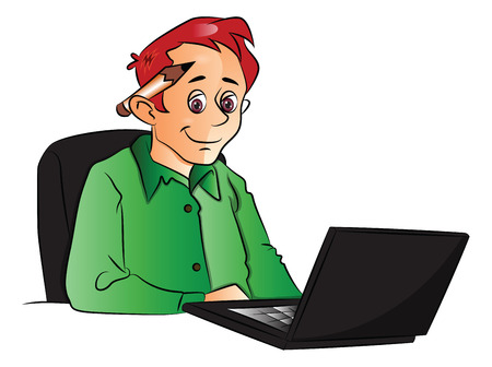 using laptop: Vector illustration of businessman using laptop, pencil on his ear.