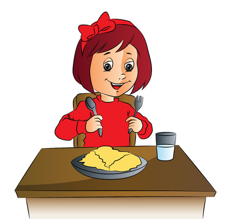 Vector illustration of happy girl with food plate and glass of water on table.