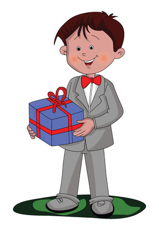 Vector illustration of happy and well dressed boy holding a gift box.