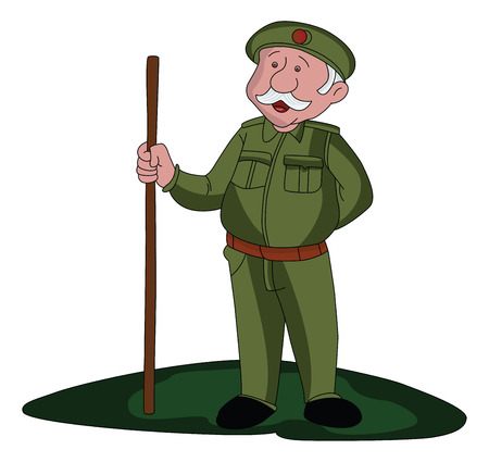Vector illustration of a security guard holding wooden stick. Stock Illustratie