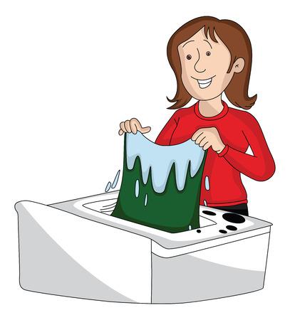 Vector illustratie van de vrouw kleren wassen in de machine.