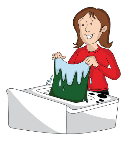 Vector illustration of woman washing clothes in machine.
