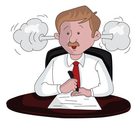Vector illustration of an angry businessman doing paperwork. Illustration