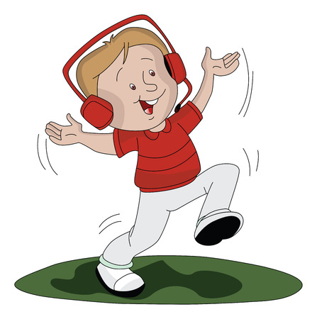 Vector illustration of happy boy dancing and listening to music on headphones. Vector