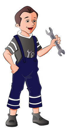 serviceman: Vector illustration of repairman holding spanner, one hand on hip. Illustration