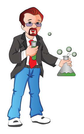 experimenting: Vector illustration of scientist experimenting with testtube and beaker.