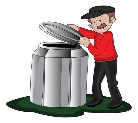 Vector illustration of a man opening the lid of a barrel.