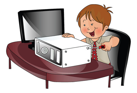 Vector illustration of a young boy repairing a cpu. Çizim