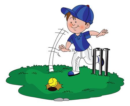 Vector illustration of a boy playing cricket. Ilustracja
