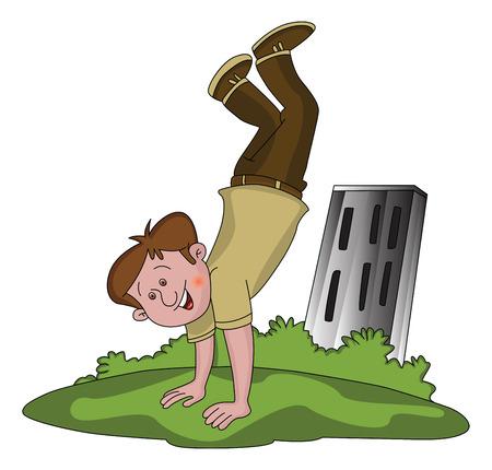mischief: Vector illustration of happy boy in upside down position.
