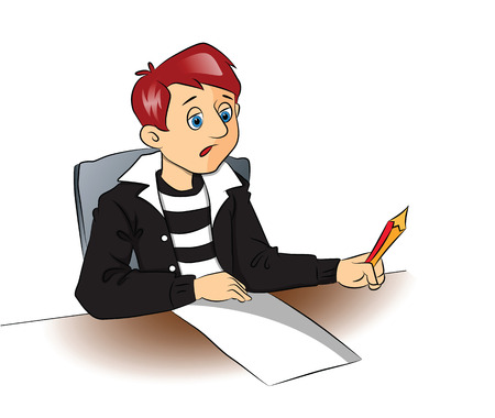 Vector illustration of a thoughtful college student with pencil and a blank paper. Illustration