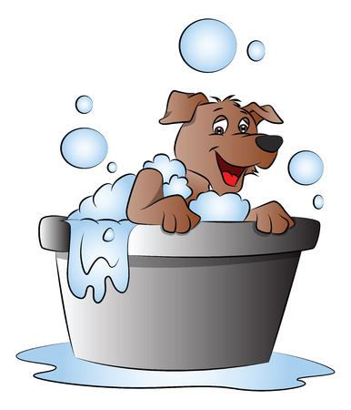 surprised dog: Vector illustration of happy and surprised dog in bathtub.