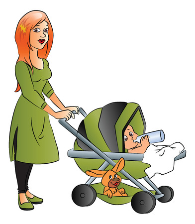 baby and mother: Vector illustration of mother pushing baby in pram who is drinking milk from bottle. Illustration