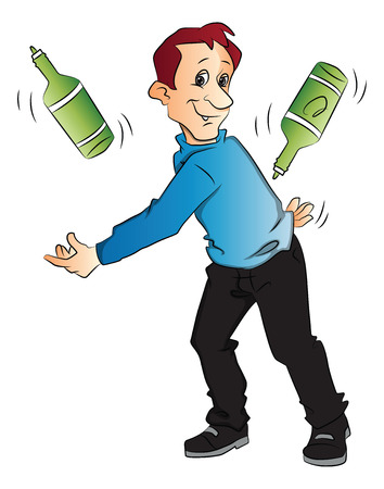 juggle: Vector illustration of confident young man juggling bottles on white background. Illustration
