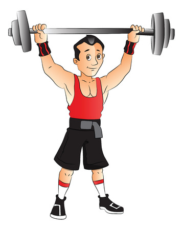 Vector illustration of young man wrightlifting against white background. Illustration