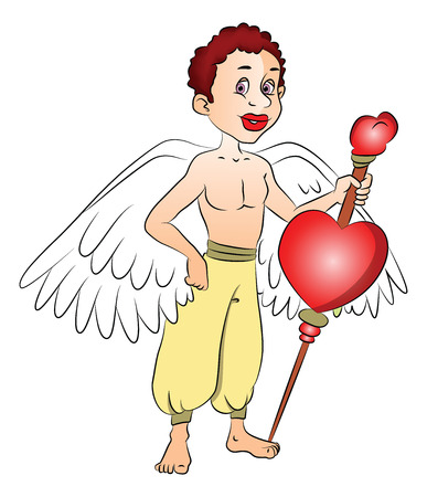 shirtless: Vector illustration of fairy boy with a heart shape symbol on bow.