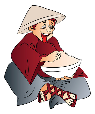 conical hat: Vector illustration of excited young man with a bowl of food, wearing conical hat.